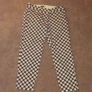 J Crew navy blue polka dot pants